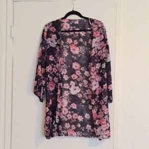 Charlotte Russe Floral Chiffon Kimono